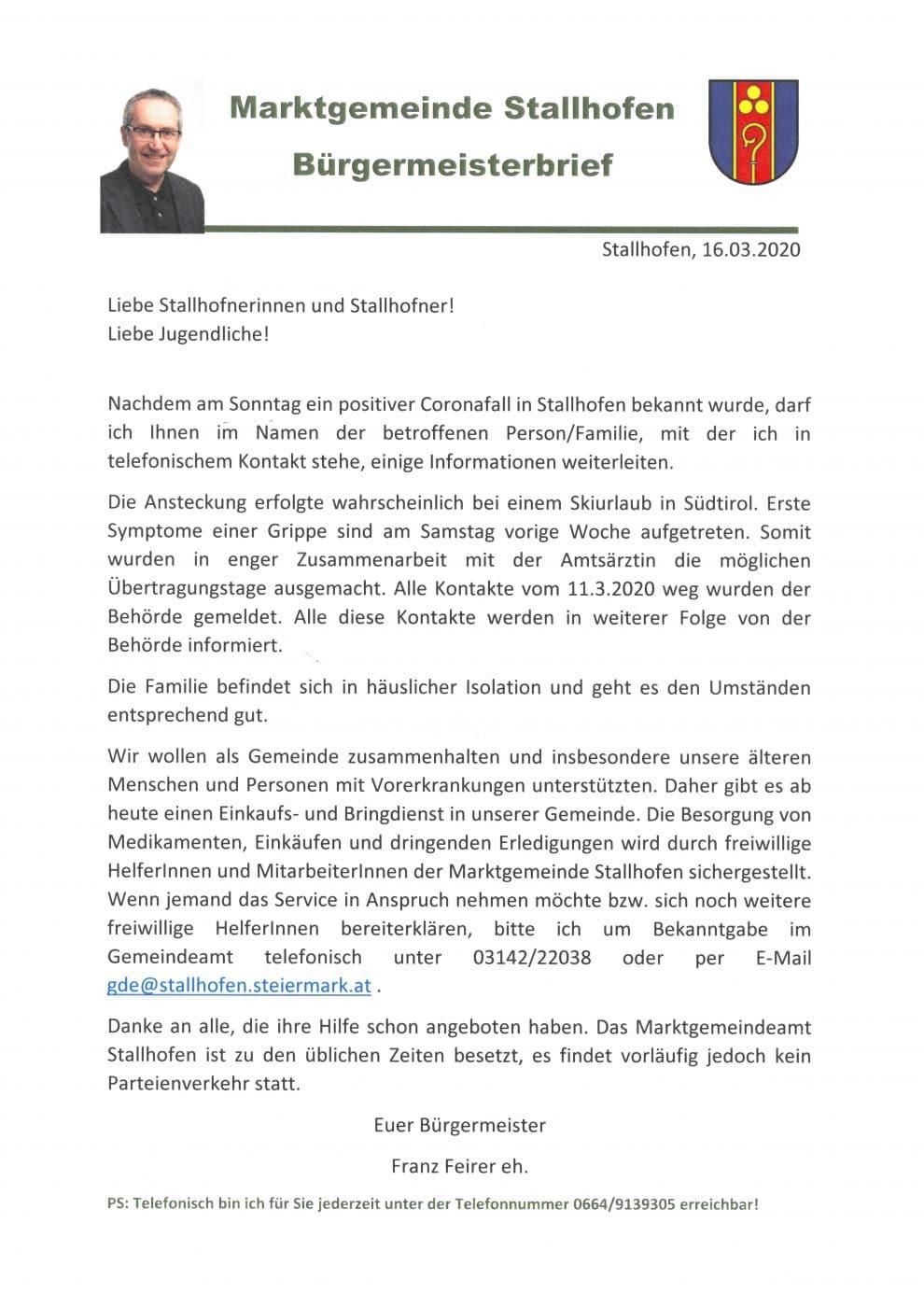 Bürgermeisterbrief betreffend Corona